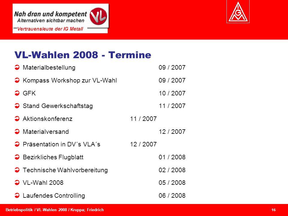 Alternativen sichtbar machen Vertrauensleute der IG Metall 16 Betriebspolitik / VL-Wahlen 2008 / Kruppa; Friedrich VL-Wahlen 2008 - Termine Materialbe