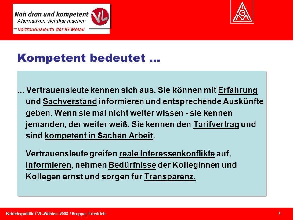 Alternativen sichtbar machen Vertrauensleute der IG Metall 3 Betriebspolitik / VL-Wahlen 2008 / Kruppa; Friedrich Kompetent bedeutet...... Vertrauensl