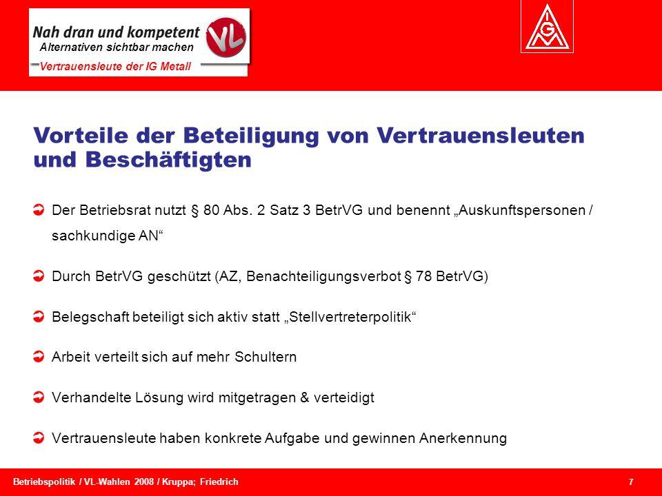 Alternativen sichtbar machen Vertrauensleute der IG Metall 7 Betriebspolitik / VL-Wahlen 2008 / Kruppa; Friedrich Der Betriebsrat nutzt § 80 Abs. 2 Sa