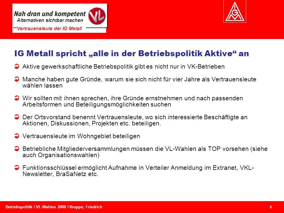 Alternativen sichtbar machen Vertrauensleute der IG Metall 8 Betriebspolitik / VL-Wahlen 2008 / Kruppa; Friedrich Aktive gewerkschaftliche Betriebspol