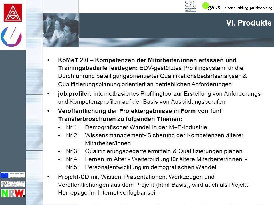 VI. Produkte KoMeT 2.0 – Kompetenzen der Mitarbeiter/innen erfassen und Trainingsbedarfe festlegen: EDV-gestütztes Profilingsystem für die Durchführun