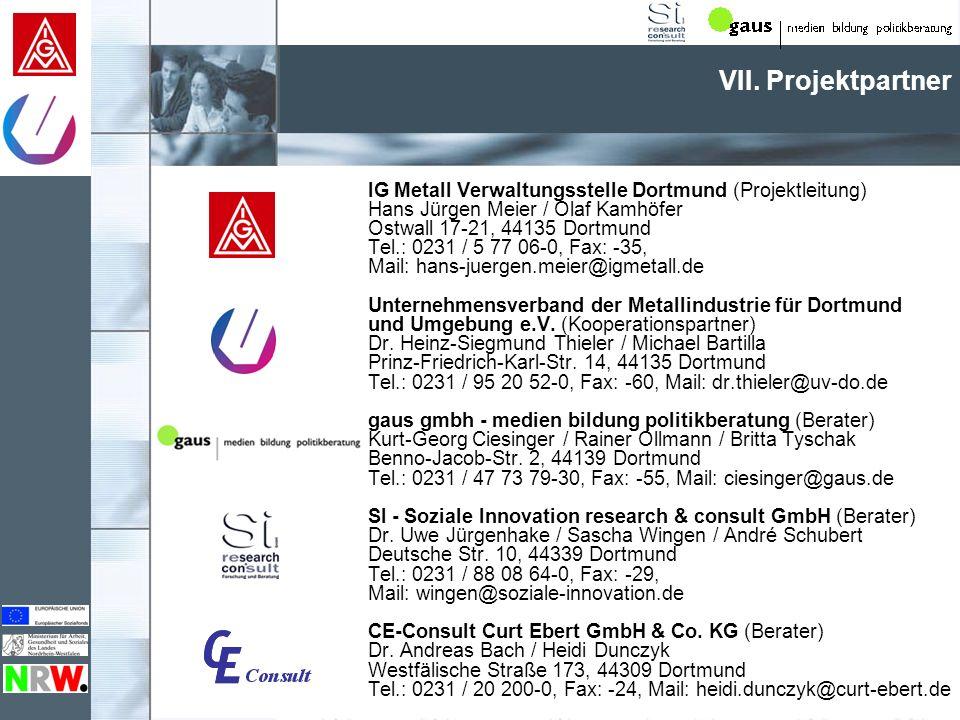 VII. Projektpartner IG Metall Verwaltungsstelle Dortmund (Projektleitung) Hans Jürgen Meier / Olaf Kamhöfer Ostwall 17-21, 44135 Dortmund Tel.: 0231 /
