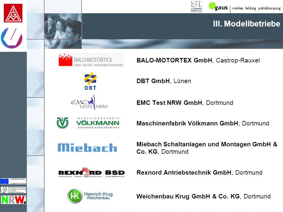 III. Modellbetriebe BALO-MOTORTEX GmbH, Castrop-Rauxel DBT GmbH, Lünen EMC Test NRW GmbH, Dortmund Maschinenfabrik Völkmann GmbH, Dortmund Miebach Sch