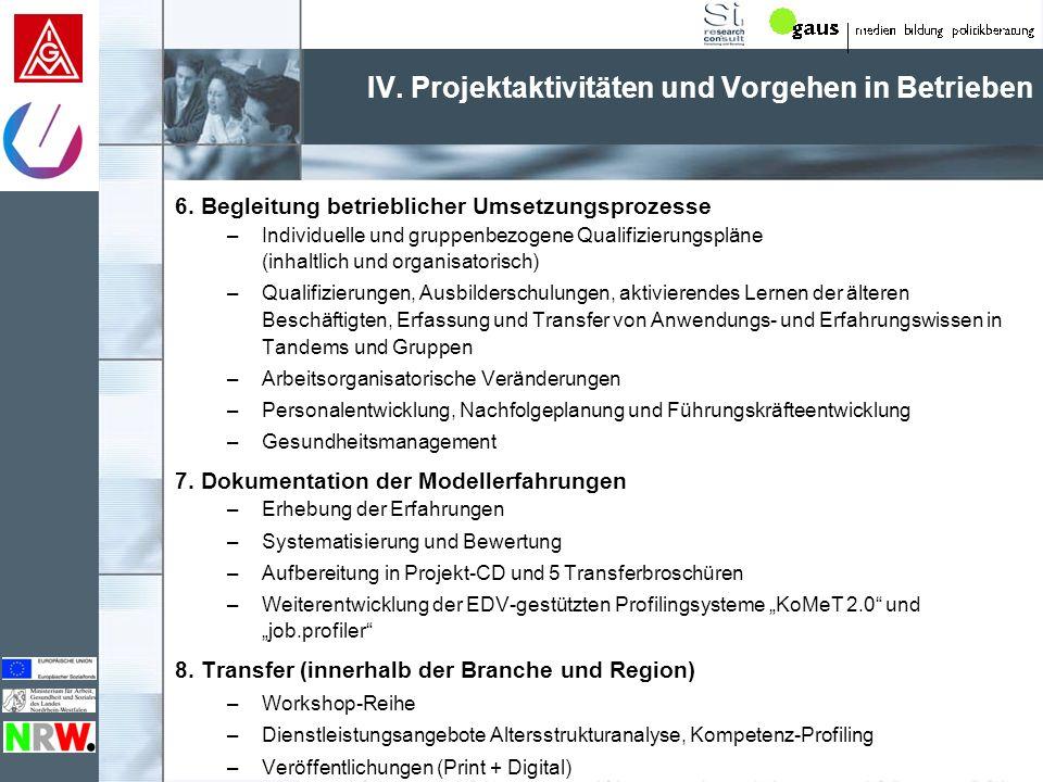 IV. Projektaktivitäten und Vorgehen in Betrieben Thematischer Überblick