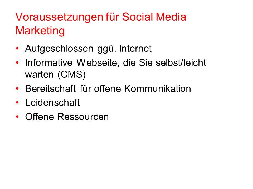 Voraussetzungen für Social Media Marketing Aufgeschlossen ggü.