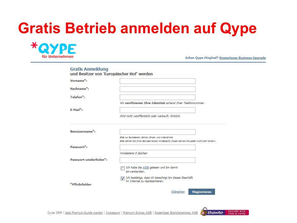 Gratis Betrieb anmelden auf Qype