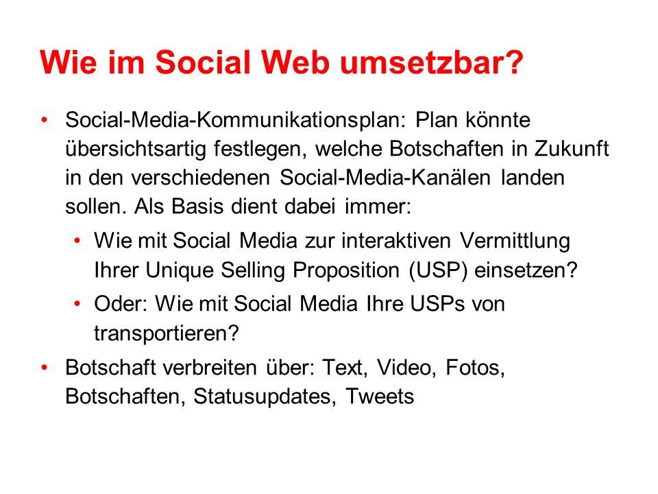 Wie im Social Web umsetzbar.