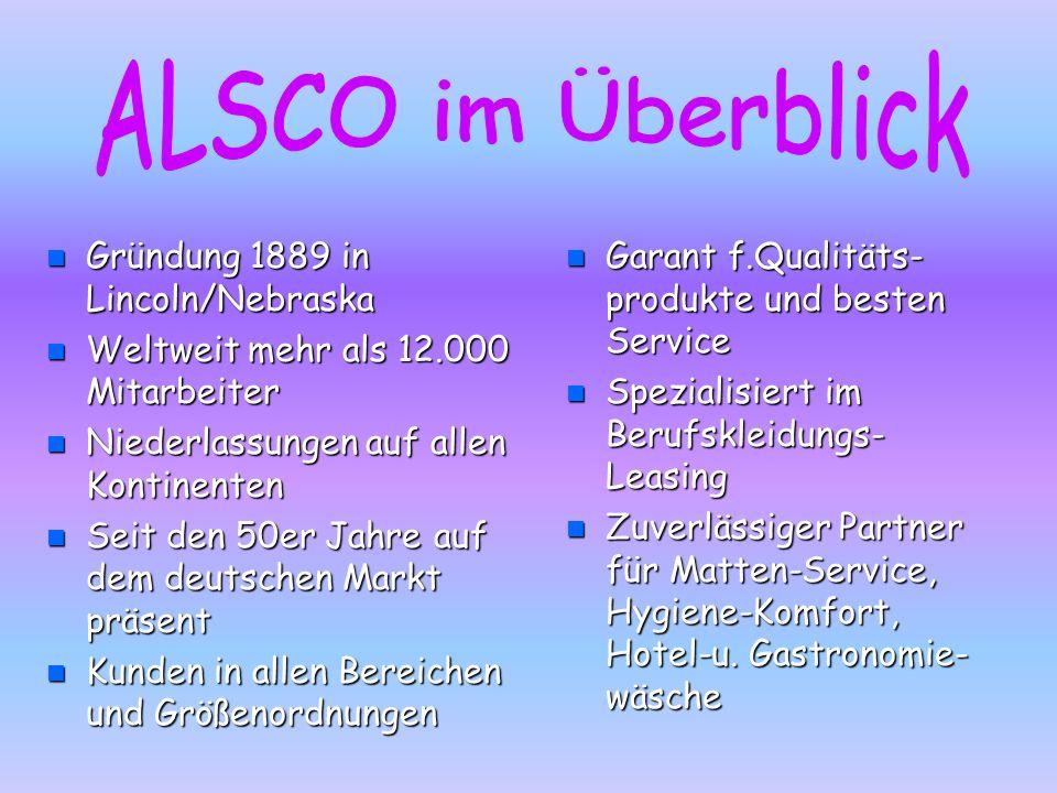 Die Gründung n ALSCO steht fürAmerican Linen Supply Company. Sie wurde 1889 von George A.Steiner in Lincoln/Nebrasca gegründet und wechselte ihren Sta