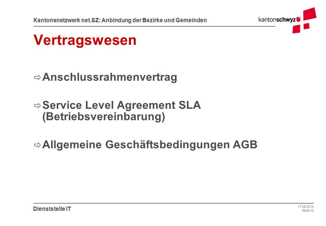 17.05.2014 Seite 13 Kantonsnetzwerk net.SZ: Anbindung der Bezirke und Gemeinden Dienststelle IT Vertragswesen Anschlussrahmenvertrag Service Level Agr