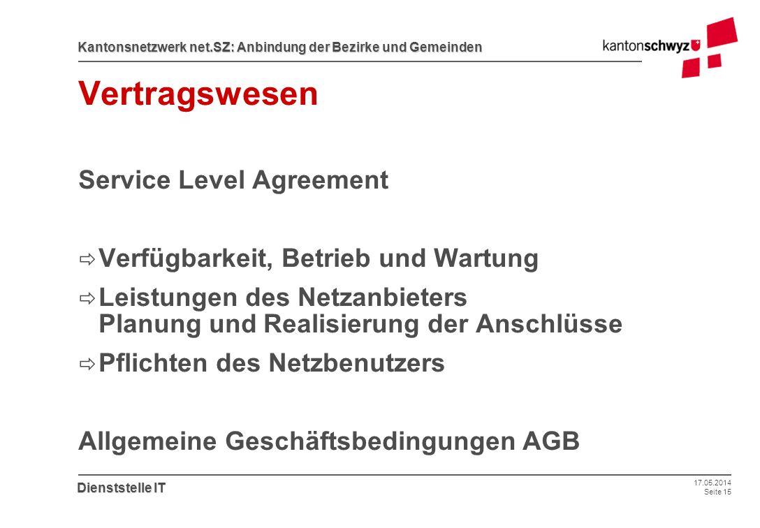 17.05.2014 Seite 15 Kantonsnetzwerk net.SZ: Anbindung der Bezirke und Gemeinden Dienststelle IT Vertragswesen Service Level Agreement Verfügbarkeit, B