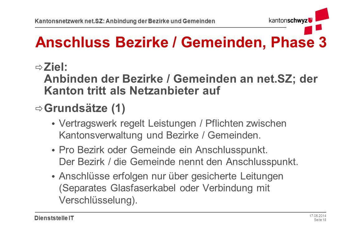 17.05.2014 Seite 18 Kantonsnetzwerk net.SZ: Anbindung der Bezirke und Gemeinden Dienststelle IT Anschluss Bezirke / Gemeinden, Phase 3 Ziel: Anbinden