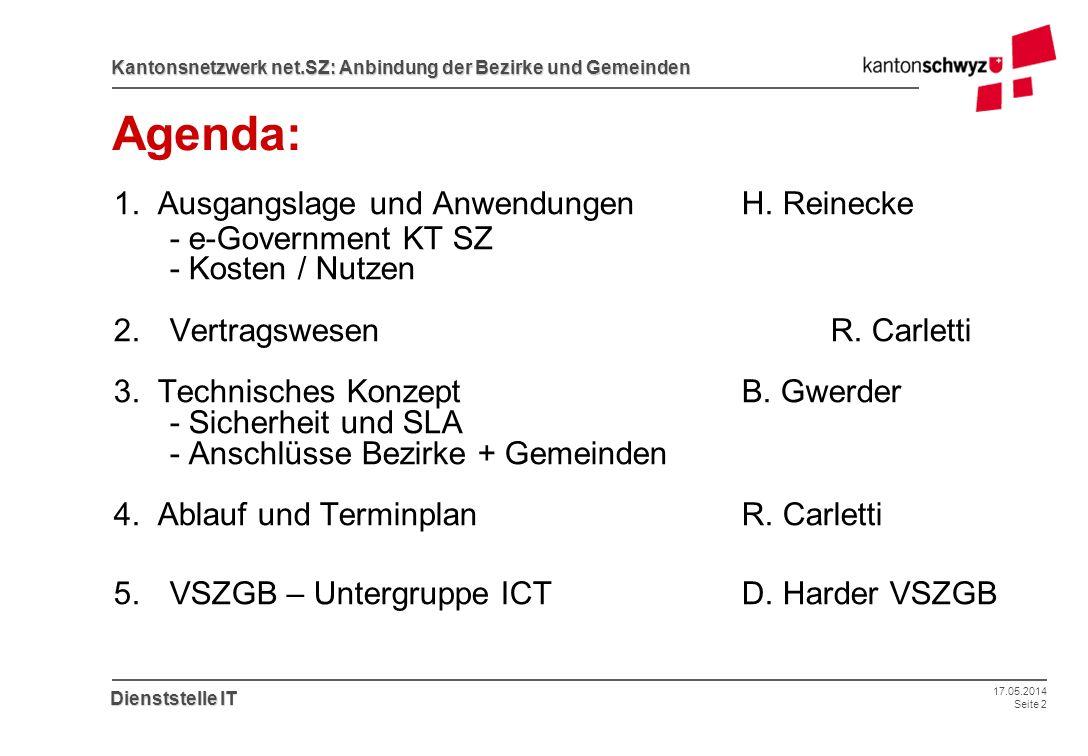 17.05.2014 Seite 2 Kantonsnetzwerk net.SZ: Anbindung der Bezirke und Gemeinden Dienststelle IT Agenda: 1. Ausgangslage und AnwendungenH. Reinecke - e-