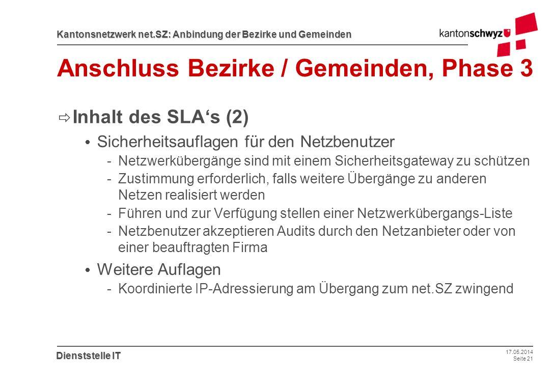 17.05.2014 Seite 21 Kantonsnetzwerk net.SZ: Anbindung der Bezirke und Gemeinden Dienststelle IT Anschluss Bezirke / Gemeinden, Phase 3 Inhalt des SLAs