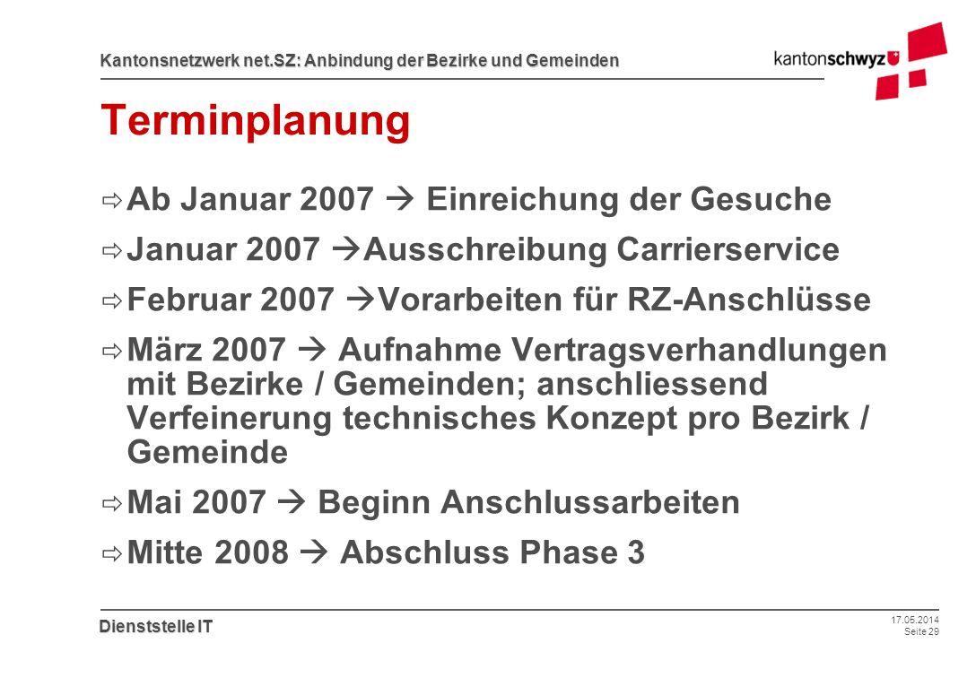 17.05.2014 Seite 29 Kantonsnetzwerk net.SZ: Anbindung der Bezirke und Gemeinden Dienststelle IT Terminplanung Ab Januar 2007 Einreichung der Gesuche J