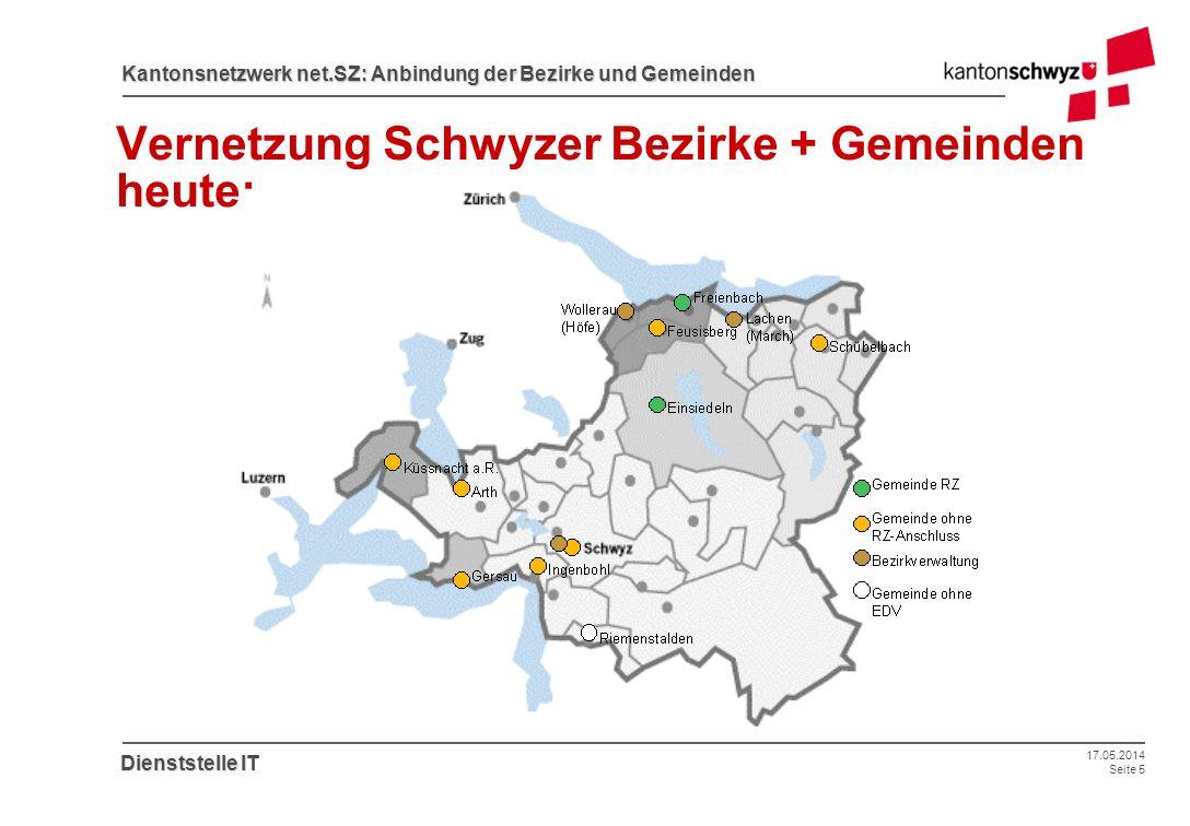 17.05.2014 Seite 5 Kantonsnetzwerk net.SZ: Anbindung der Bezirke und Gemeinden Dienststelle IT Vernetzung Schwyzer Bezirke + Gemeinden heute: