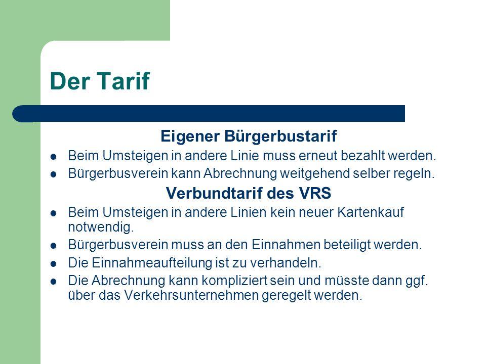 Der Tarif Eigener Bürgerbustarif Beim Umsteigen in andere Linie muss erneut bezahlt werden. Bürgerbusverein kann Abrechnung weitgehend selber regeln.