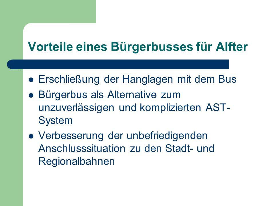 Vorteile eines Bürgerbusses für Alfter Erschließung der Hanglagen mit dem Bus Bürgerbus als Alternative zum unzuverlässigen und komplizierten AST- System Verbesserung der unbefriedigenden Anschlusssituation zu den Stadt- und Regionalbahnen