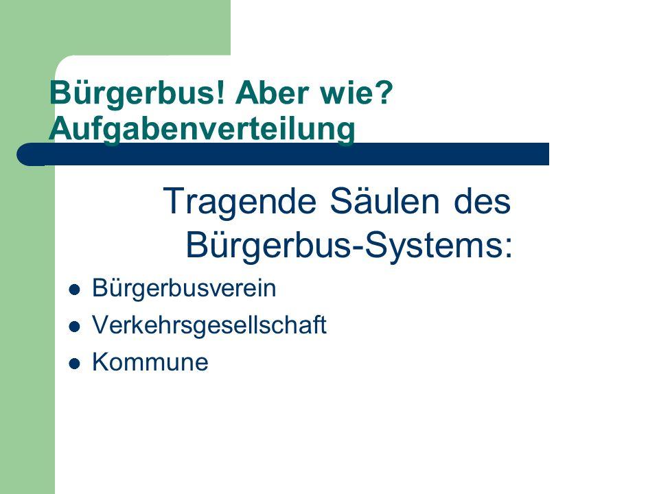 Bürgerbus! Aber wie? Aufgabenverteilung Tragende Säulen des Bürgerbus-Systems: Bürgerbusverein Verkehrsgesellschaft Kommune