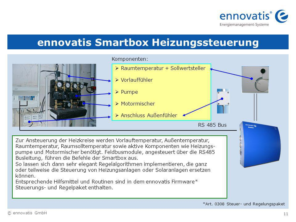 © ennovatis GmbH 11 ennovatis Smartbox Heizungssteuerung RS 485 Bus Raumtemperatur + Sollwertsteller Vorlauffühler Pumpe Motormischer Anschluss Außenfühler Komponenten: Zur Ansteuerung der Heizkreise werden Vorlauftemperatur, Außentemperatur, Raumtemperatur, Raumsolltemperatur sowie aktive Komponenten wie Heizungs- pumpe und Motormischer benötigt.