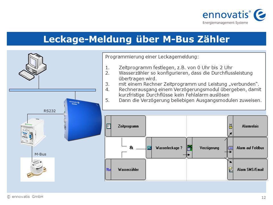 © ennovatis GmbH 12 Leckage-Meldung über M-Bus Zähler M-Bus RS232 Programmierung einer Leckagemeldung: 1.Zeitprogramm festlegen, z.B.