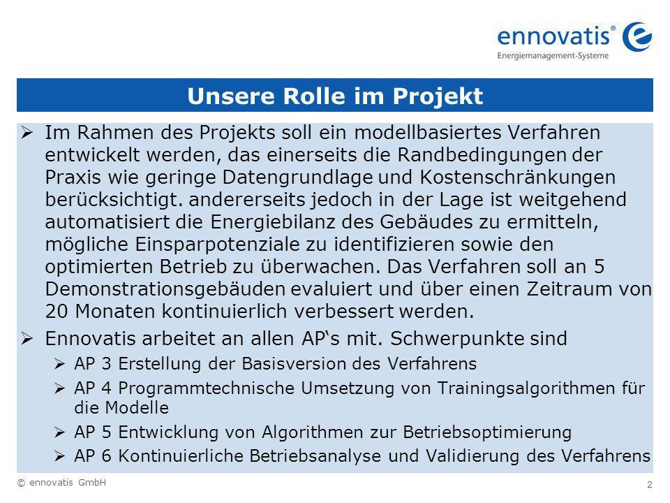 © ennovatis GmbH 2 Unsere Rolle im Projekt Im Rahmen des Projekts soll ein modellbasiertes Verfahren entwickelt werden, das einerseits die Randbedingungen der Praxis wie geringe Datengrundlage und Kostenschränkungen berücksichtigt.