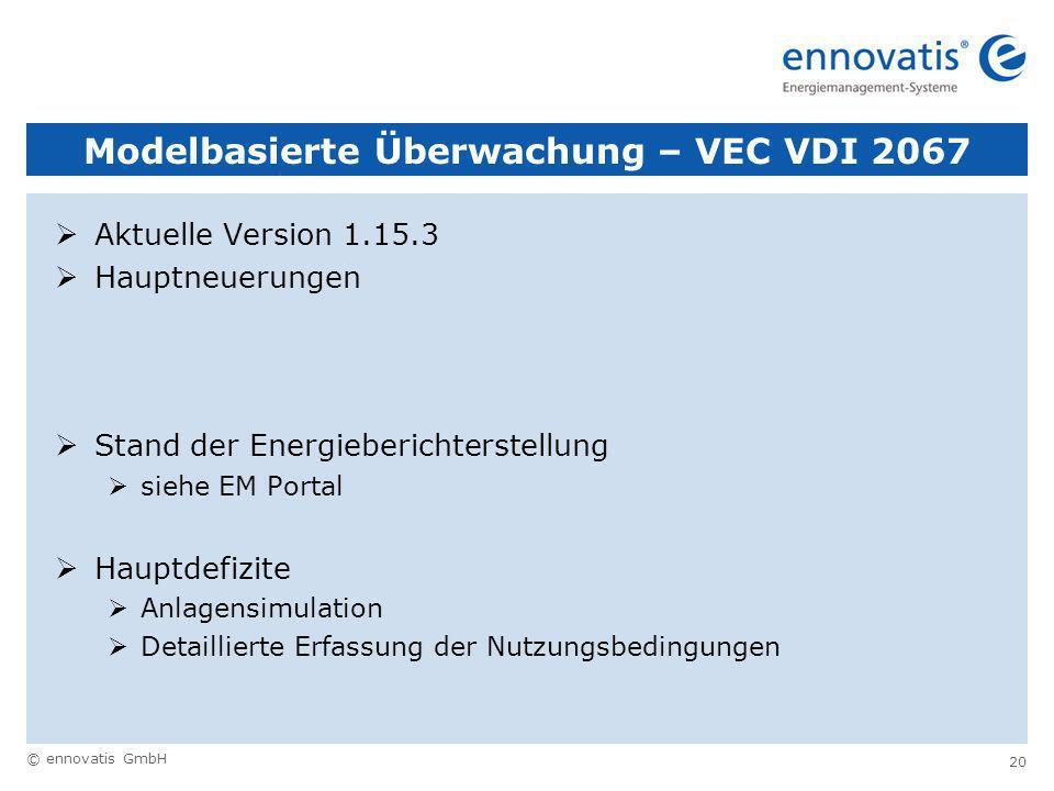 © ennovatis GmbH 20 Modelbasierte Überwachung – VEC VDI 2067 Aktuelle Version 1.15.3 Hauptneuerungen Stand der Energieberichterstellung siehe EM Portal Hauptdefizite Anlagensimulation Detaillierte Erfassung der Nutzungsbedingungen