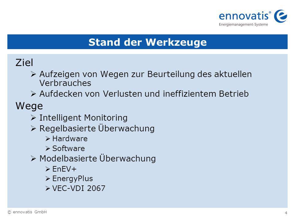 © ennovatis GmbH 4 Stand der Werkzeuge Ziel Aufzeigen von Wegen zur Beurteilung des aktuellen Verbrauches Aufdecken von Verlusten und ineffizientem Betrieb Wege Intelligent Monitoring Regelbasierte Überwachung Hardware Software Modelbasierte Überwachung EnEV+ EnergyPlus VEC-VDI 2067