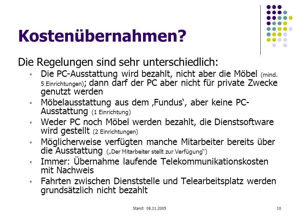 Stand: 08.11.200510 Kostenübernahmen? Die Regelungen sind sehr unterschiedlich: Die PC-Ausstattung wird bezahlt, nicht aber die Möbel (mind. 5 Einrich