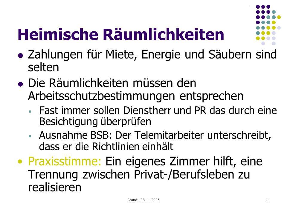 Stand: 08.11.200511 Heimische Räumlichkeiten Zahlungen für Miete, Energie und Säubern sind selten Die Räumlichkeiten müssen den Arbeitsschutzbestimmun