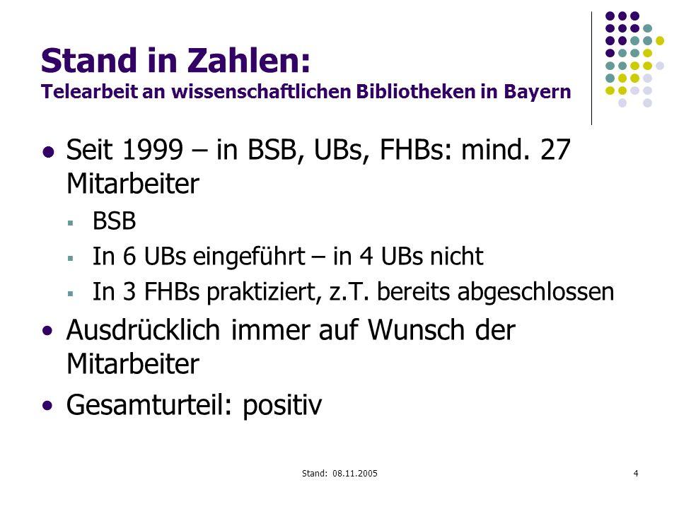 Stand: 08.11.20054 Stand in Zahlen: Telearbeit an wissenschaftlichen Bibliotheken in Bayern Seit 1999 – in BSB, UBs, FHBs: mind. 27 Mitarbeiter BSB In