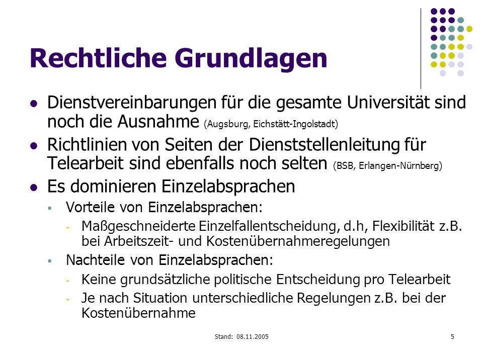 Stand: 08.11.20055 Rechtliche Grundlagen Dienstvereinbarungen für die gesamte Universität sind noch die Ausnahme (Augsburg, Eichstätt-Ingolstadt) Rich
