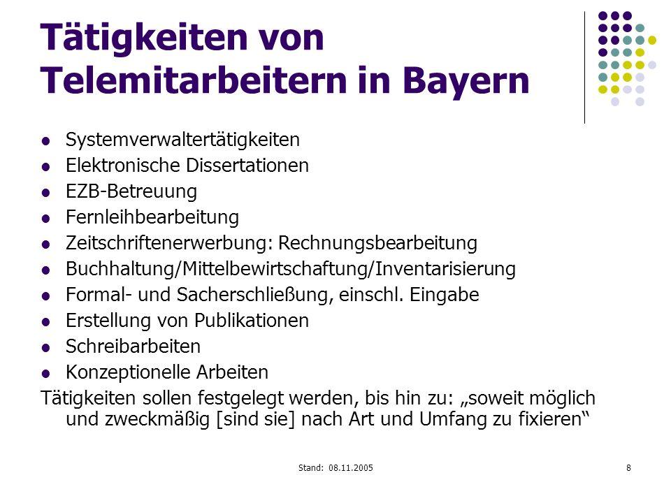 Stand: 08.11.20058 Tätigkeiten von Telemitarbeitern in Bayern Systemverwaltertätigkeiten Elektronische Dissertationen EZB-Betreuung Fernleihbearbeitun