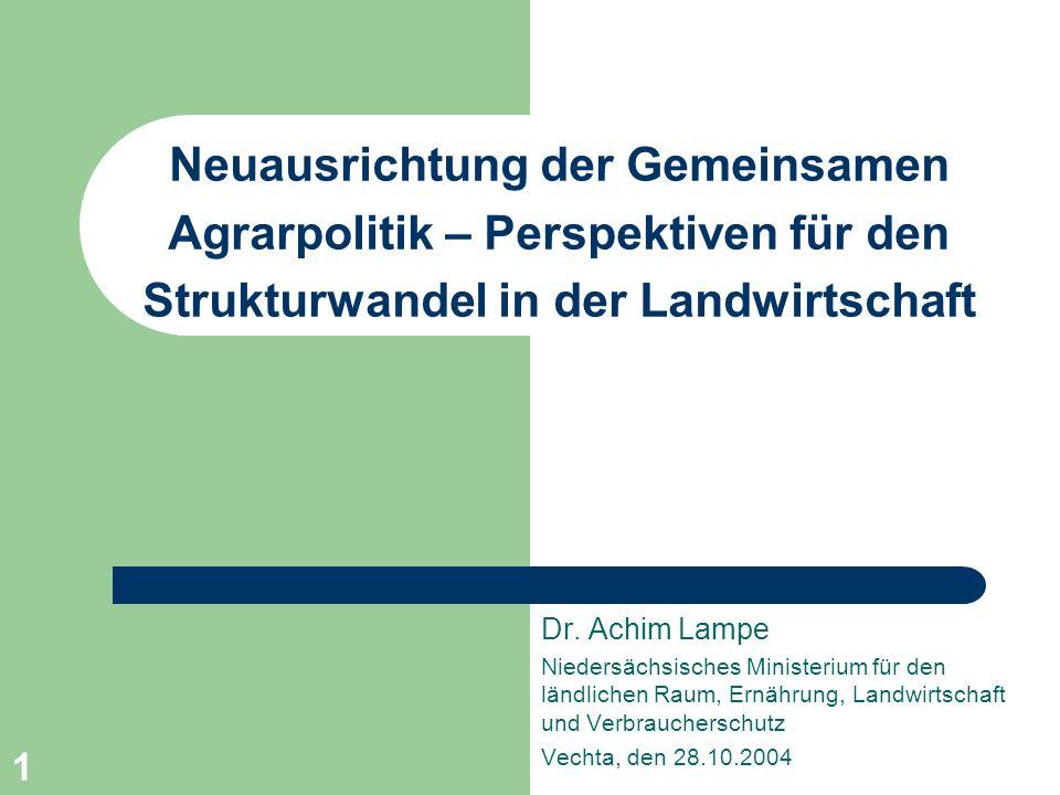 1 Neuausrichtung der Gemeinsamen Agrarpolitik – Perspektiven für den Strukturwandel in der Landwirtschaft Dr. Achim Lampe Niedersächsisches Ministeriu