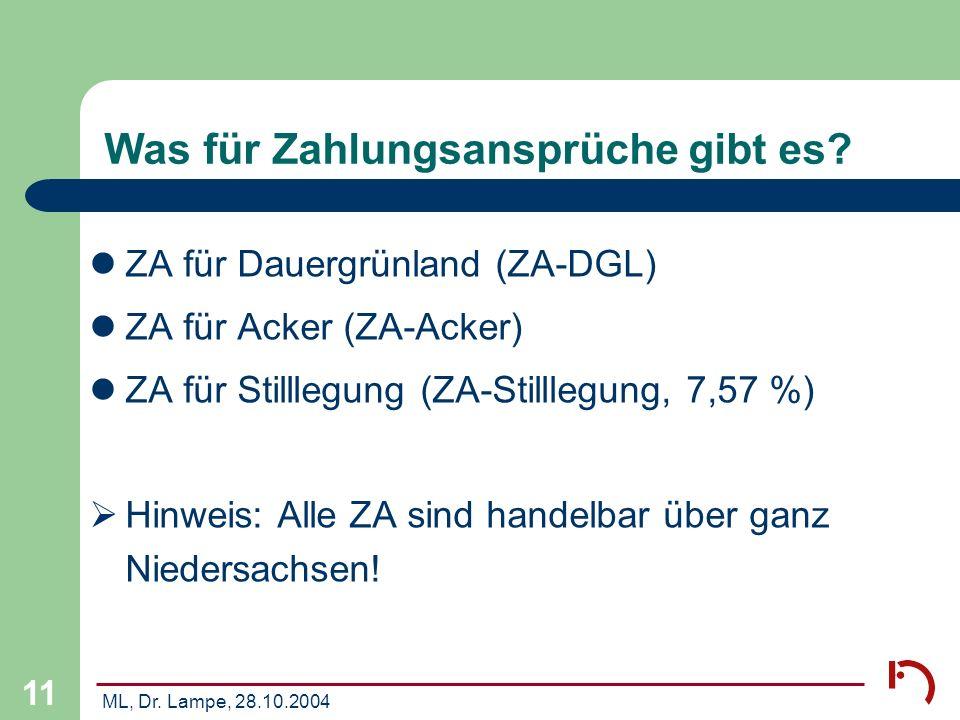 ML, Dr. Lampe, 28.10.2004 11 Was für Zahlungsansprüche gibt es? ZA für Dauergrünland (ZA-DGL) ZA für Acker (ZA-Acker) ZA für Stilllegung (ZA-Stilllegu