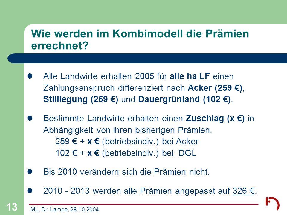 ML, Dr. Lampe, 28.10.2004 13 Wie werden im Kombimodell die Prämien errechnet? Alle Landwirte erhalten 2005 für alle ha LF einen Zahlungsanspruch diffe