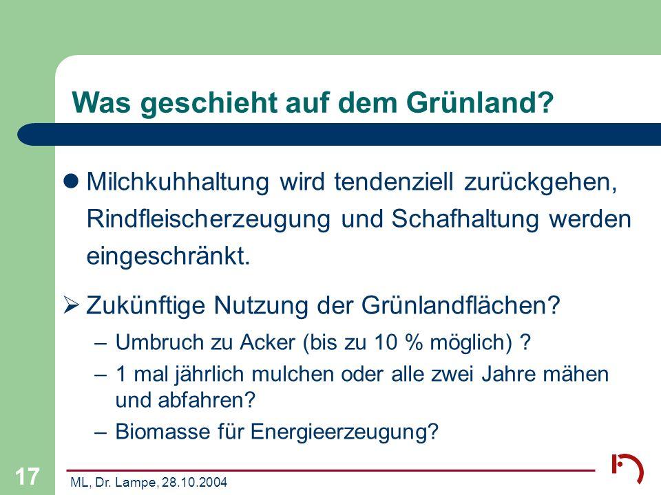 ML, Dr. Lampe, 28.10.2004 17 Was geschieht auf dem Grünland? Milchkuhhaltung wird tendenziell zurückgehen, Rindfleischerzeugung und Schafhaltung werde