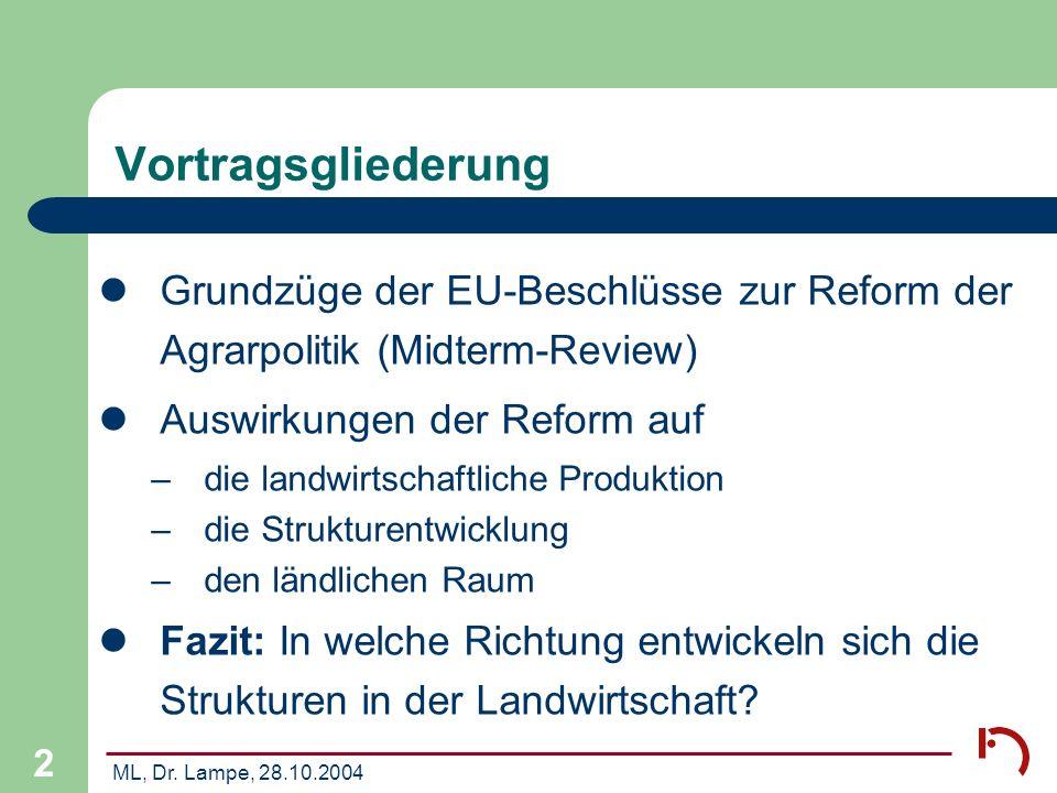 ML, Dr. Lampe, 28.10.2004 2 Vortragsgliederung Grundzüge der EU-Beschlüsse zur Reform der Agrarpolitik (Midterm-Review) Auswirkungen der Reform auf –d