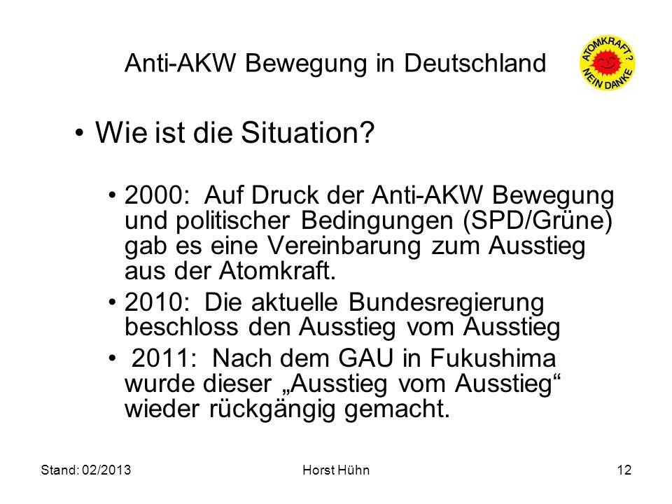 Stand: 02/2013Horst Hühn12 Anti-AKW Bewegung in Deutschland Wie ist die Situation? 2000: Auf Druck der Anti-AKW Bewegung und politischer Bedingungen (