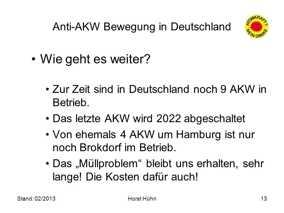 Stand: 02/2013Horst Hühn13 Anti-AKW Bewegung in Deutschland Wie geht es weiter? Zur Zeit sind in Deutschland noch 9 AKW in Betrieb. Das letzte AKW wir