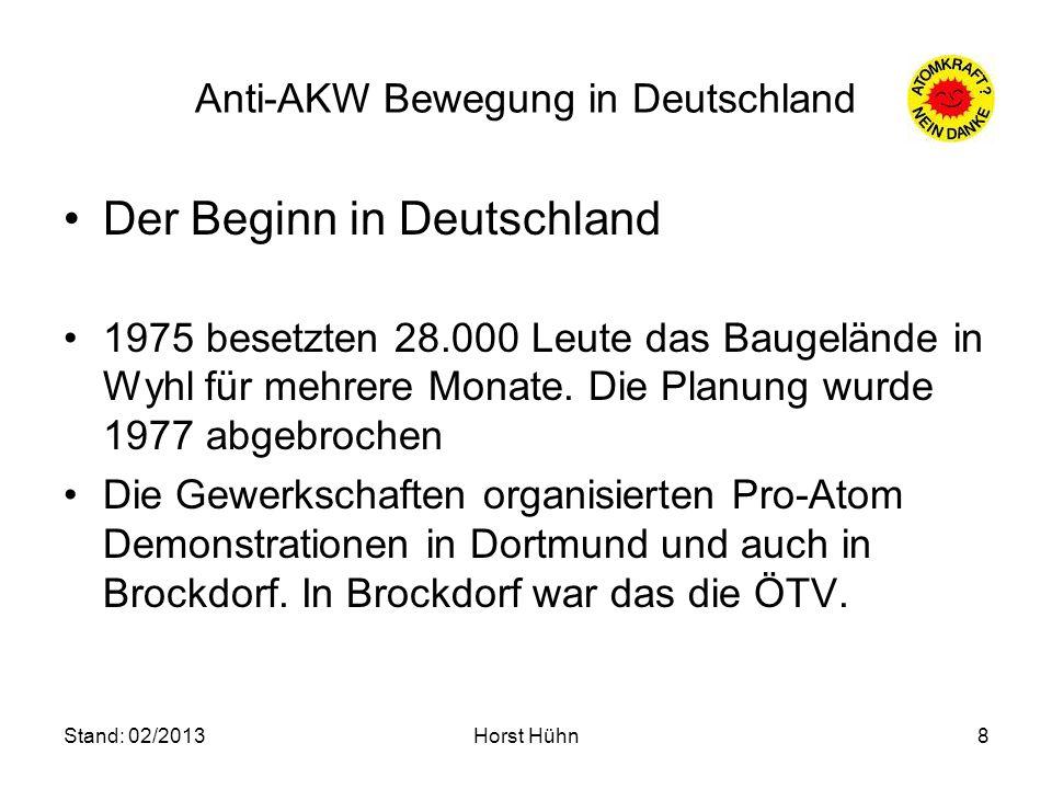 Stand: 02/2013Horst Hühn8 Anti-AKW Bewegung in Deutschland Der Beginn in Deutschland 1975 besetzten 28.000 Leute das Baugelände in Wyhl für mehrere Mo