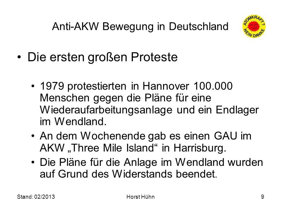 Stand: 02/2013Horst Hühn9 Anti-AKW Bewegung in Deutschland Die ersten großen Proteste 1979 protestierten in Hannover 100.000 Menschen gegen die Pläne