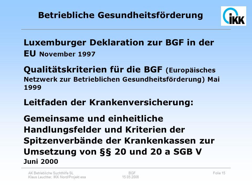 AK Betriebliche Suchthilfe SL BGF Folie 15 Klaus Leuchter, IKK Nord/Projekt esa 15.05.2008 Luxemburger Deklaration zur BGF in der EU November 1997 Qua