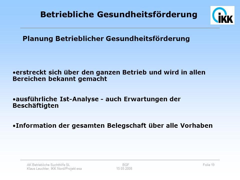 AK Betriebliche Suchthilfe SL BGF Folie 19 Klaus Leuchter, IKK Nord/Projekt esa 15.05.2008 Betriebliche Gesundheitsförderung Planung Betrieblicher Ges