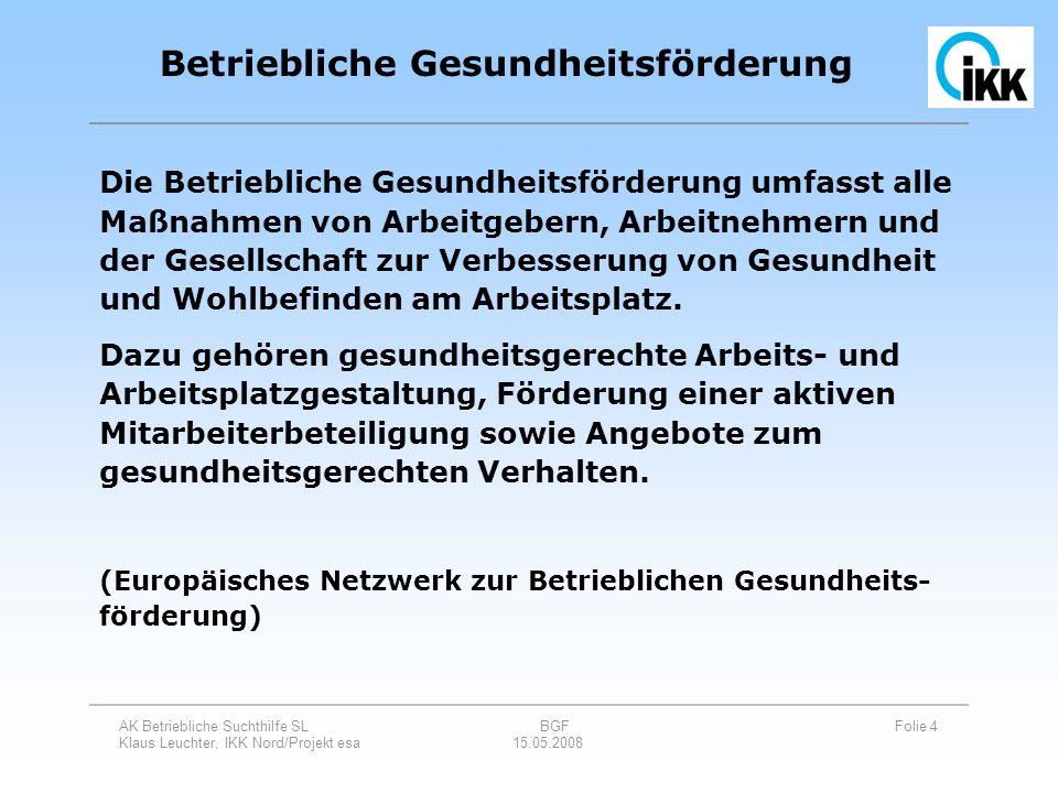 AK Betriebliche Suchthilfe SL BGF Folie 15 Klaus Leuchter, IKK Nord/Projekt esa 15.05.2008 Luxemburger Deklaration zur BGF in der EU November 1997 Qualitätskriterien für die BGF (Europäisches Netzwerk zur Betrieblichen Gesundheitsförderung) Mai 1999 Leitfaden der Krankenversicherung: Gemeinsame und einheitliche Handlungsfelder und Kriterien der Spitzenverbände der Krankenkassen zur Umsetzung von §§ 20 und 20 a SGB V Juni 2000 Betriebliche Gesundheitsförderung