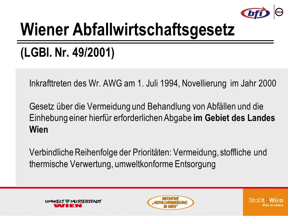 Wiener Abfallwirtschaftsgesetz (LGBl.Nr. 49/2001) Inkrafttreten des Wr.