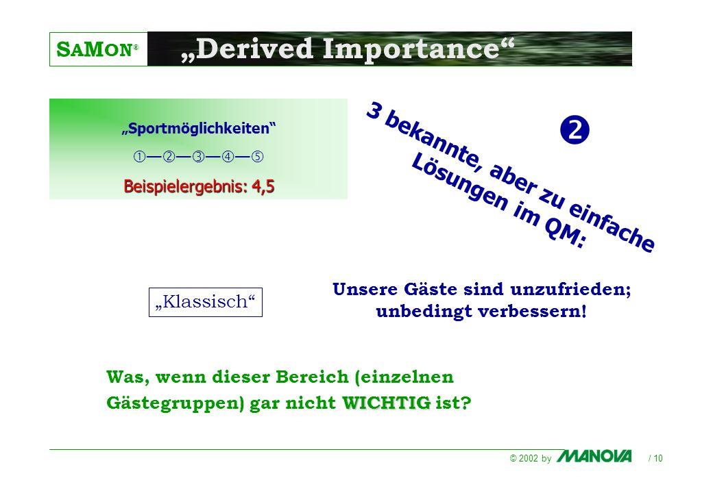S A M ON ® © 2002 by / 10 Derived Importance WICHTIG Was, wenn dieser Bereich (einzelnen Gästegruppen) gar nicht WICHTIG ist? Sportmöglichkeiten Beisp