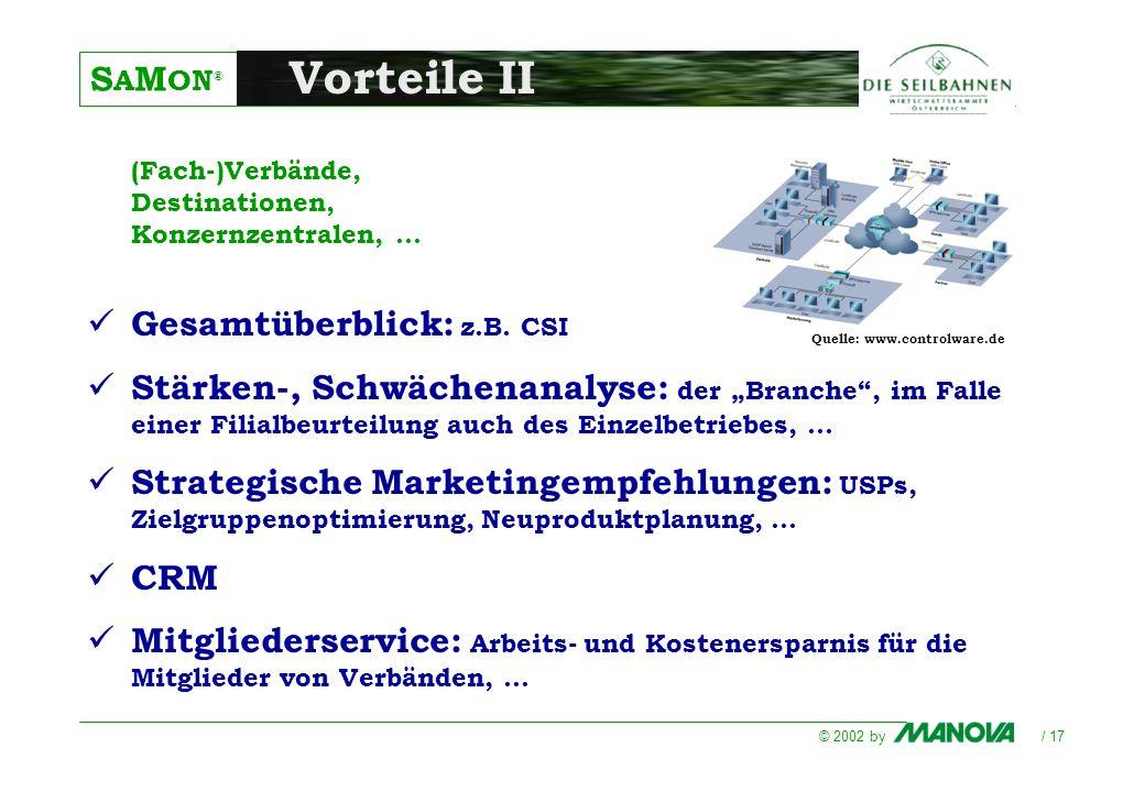 S A M ON ® © 2002 by / 17 Vorteile II (Fach-)Verbände, Destinationen, Konzernzentralen,... Gesamtüberblick: z.B. CSI Stärken-, Schwächenanalyse: der B