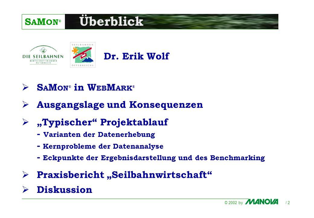 S A M ON ® © 2002 by / 2 Überblick Praxisbericht Seilbahnwirtschaft Dr. Erik Wolf S A M ON ® in W EB M ARK ® Ausgangslage und Konsequenzen Typischer P