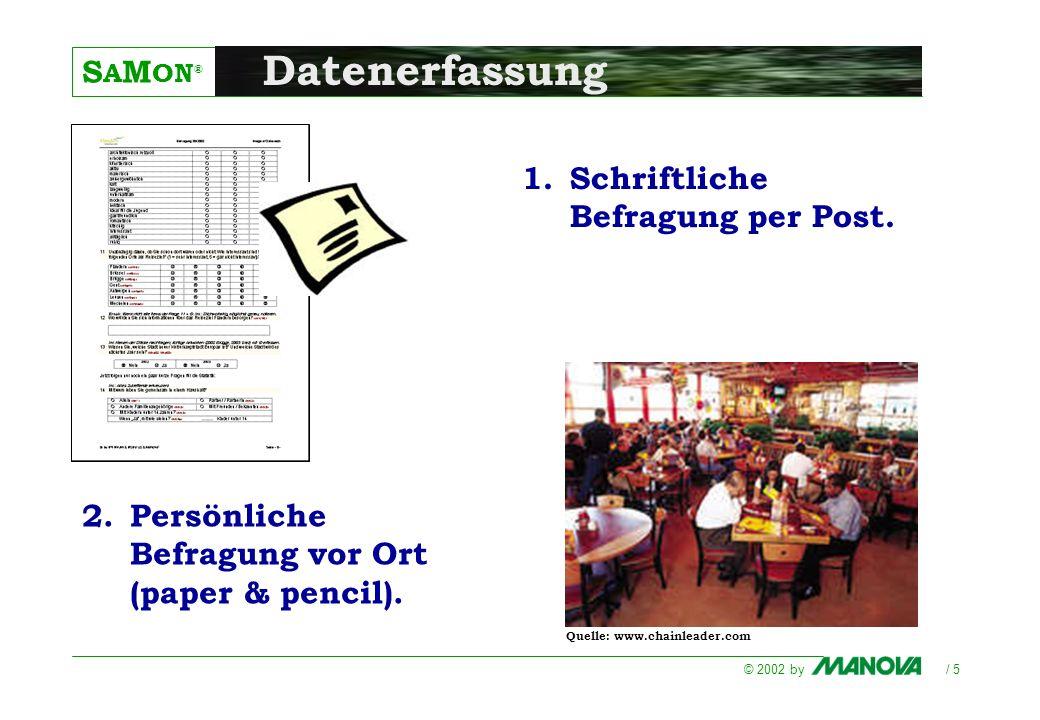 S A M ON ® © 2002 by / 5 Datenerfassung 1.Schriftliche Befragung per Post. 2.Persönliche Befragung vor Ort (paper & pencil). Quelle: www.chainleader.c