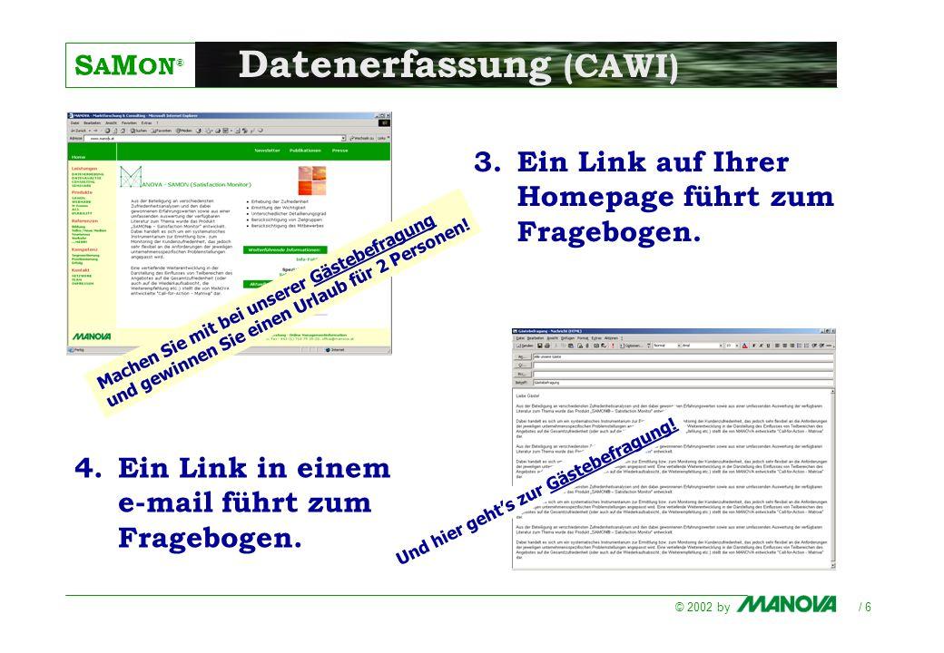 S A M ON ® © 2002 by / 6 Datenerfassung (CAWI) Und hier gehts zur Gästebefragung! 4.Ein Link in einem e-mail führt zum Fragebogen. 3.Ein Link auf Ihre